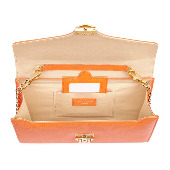 Manhattan Clutch in Orange Lizard from Aspinal of London