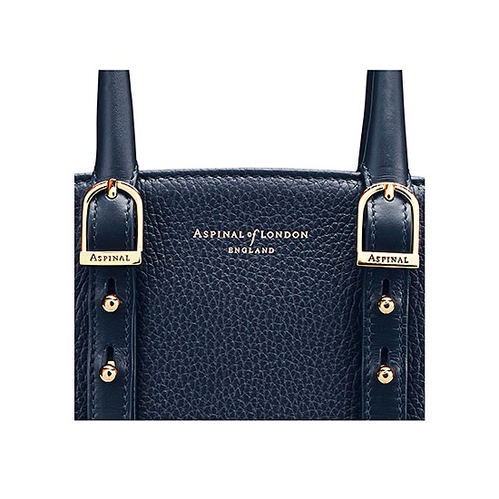 Mini Marylebone Tote in Navy Pebble from Aspinal of London