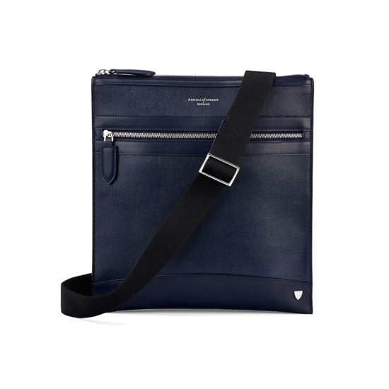 Anderson Small Messenger Bag in Navy Saffiano from Aspinal of London