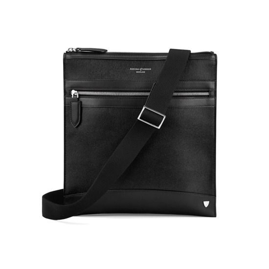 Anderson Small Messenger Bag in Black Saffiano from Aspinal of London