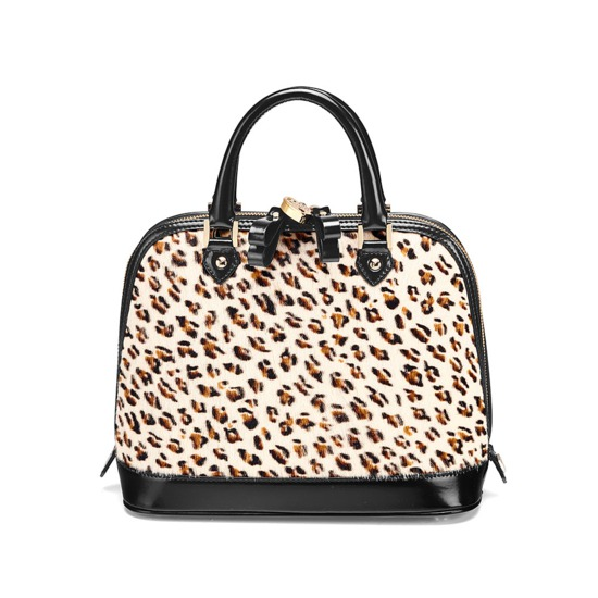 Mini Hepburn Bag in Leopard Haircalf & Black Polish from Aspinal of London