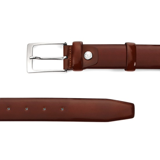 Men's Formal Leather Belt in Brown Shine from Aspinal of London