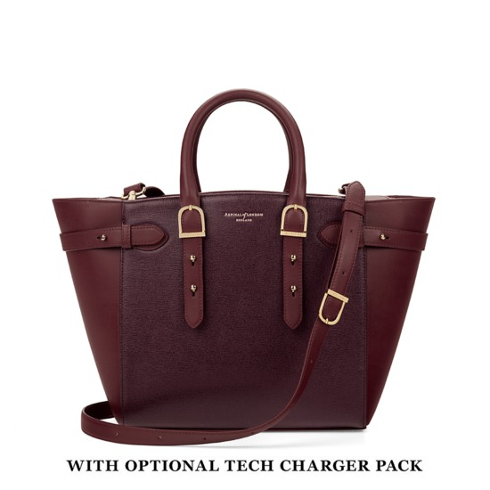Midi Marylebone Tech Tote in Burgundy Saffiano from Aspinal of London