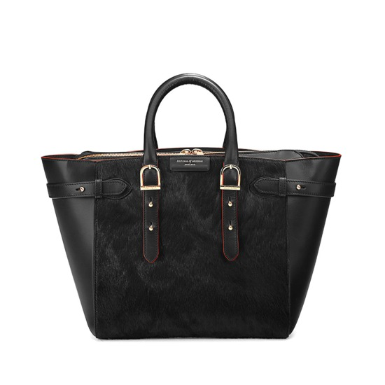 Midi Marylebone Tech Tote in Black Haircalf from Aspinal of London