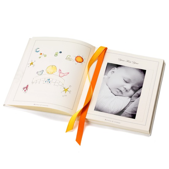 Deluxe Baby Record Book in Ivory Pebble from Aspinal of London