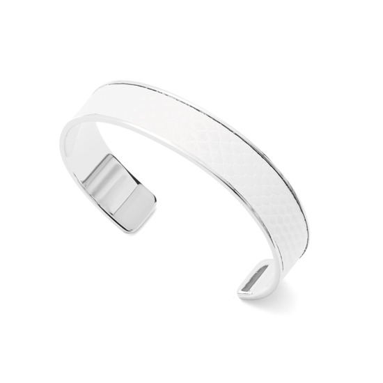 Silver Cleopatra Skinny Cuff Bracelet in Alabaster White Lizard from Aspinal of London