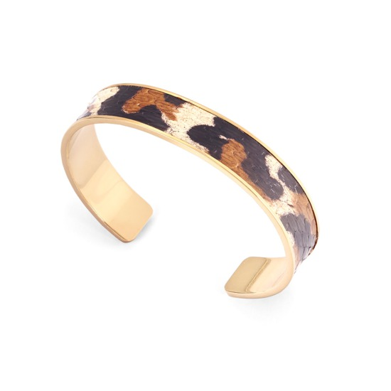 Cleopatra Skinny Cuff Bracelet in Large Leopard Print Snake from Aspinal of London