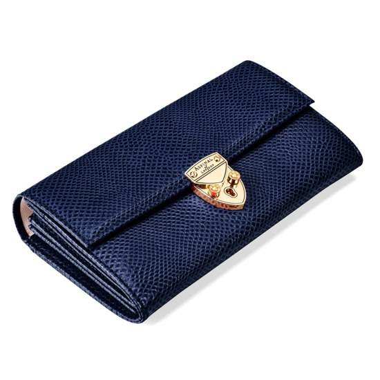 Mayfair Purse in Midnight Blue Lizard  from Aspinal of London