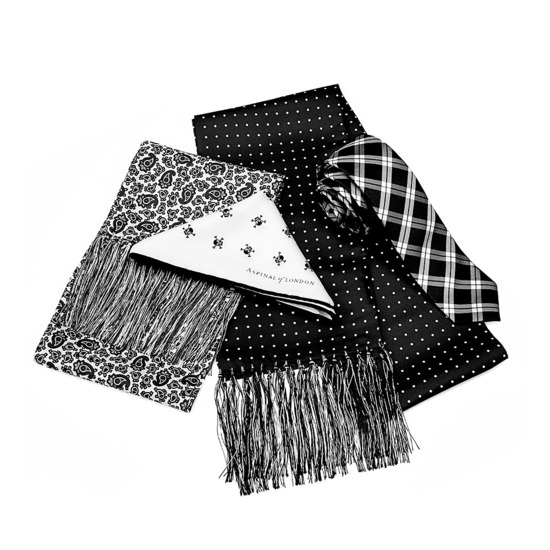 Pure Silk Tie in Black & White Plaid from Aspinal of London