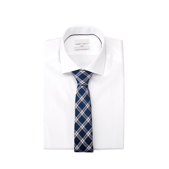 Pure Silk Tie in Navy & White Plaid from Aspinal of London