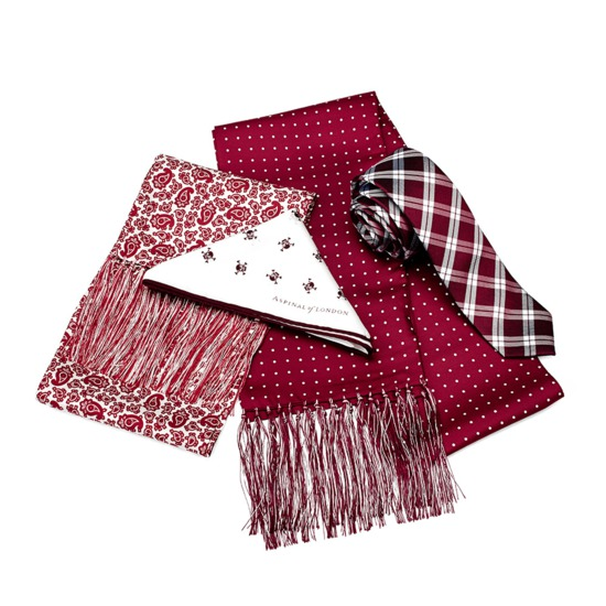 Pure Silk Tie in Burgundy & White Plaid from Aspinal of London