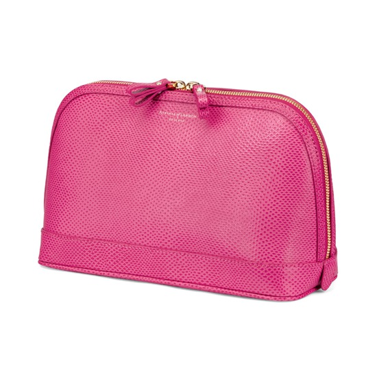 Large Hepburn Cosmetic Case in Raspberry Lizard from Aspinal of London