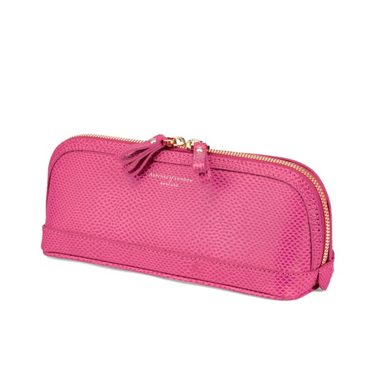 Medium Hepburn Cosmetic Case in Raspberry Lizard from Aspinal of London