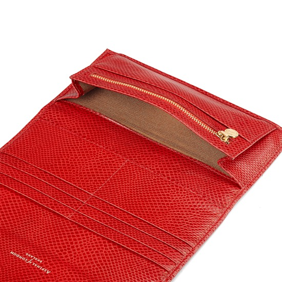 Brook Street Purse Wallet in Berry Lizard from Aspinal of London