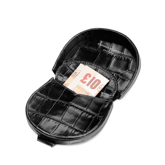 Horseshoe Coin Holder in Deep Shine Black Croc from Aspinal of London