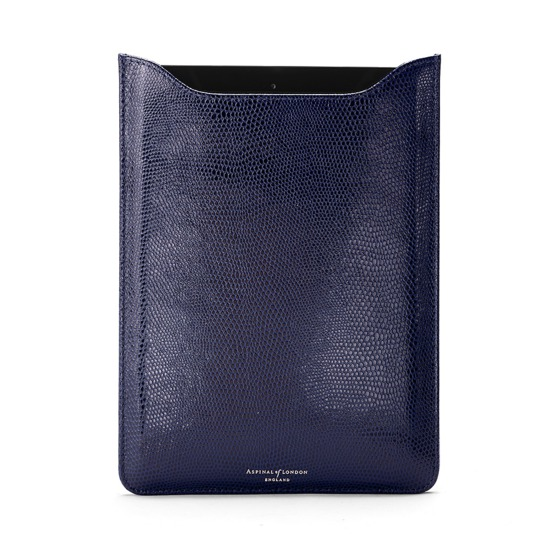 iPad Air Leather Sleeve in Navy Lizard & Cream Suede from Aspinal of London