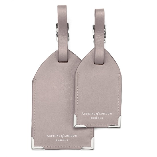 Set of 2 Luggage Tags in Smooth Taupe from Aspinal of London