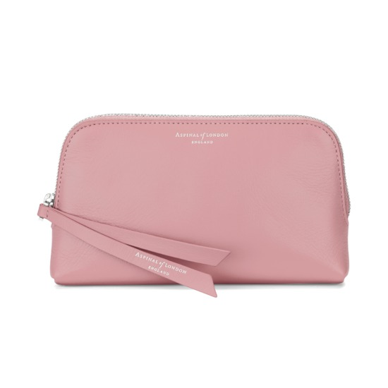 Small Essential Cosmetic Case in Smooth Dusky Pink from Aspinal of London