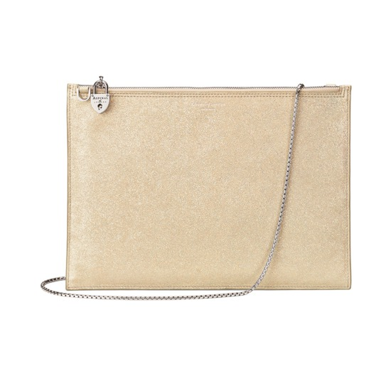 Soho Double Sided Clutch in Gold Dust Sparkle from Aspinal of London