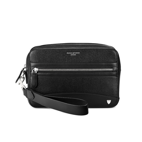 Anderson Man Clutch in Black Saffiano from Aspinal of London