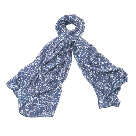 Papillon Cashmere Blend Scarf in Blue Moon from Aspinal of London