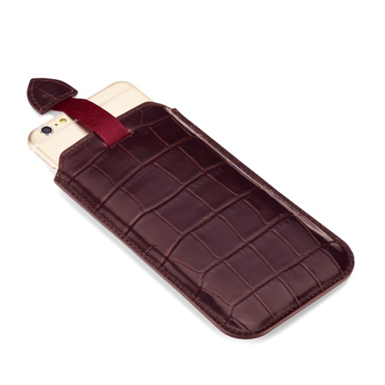iPhone 6 Plus Leather Sleeve in Deep Shine Amazon Brown Croc from Aspinal of London