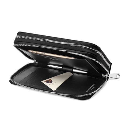Mount Street Double Zip Wallet in Black Saffiano & Cobalt Suede from Aspinal of London