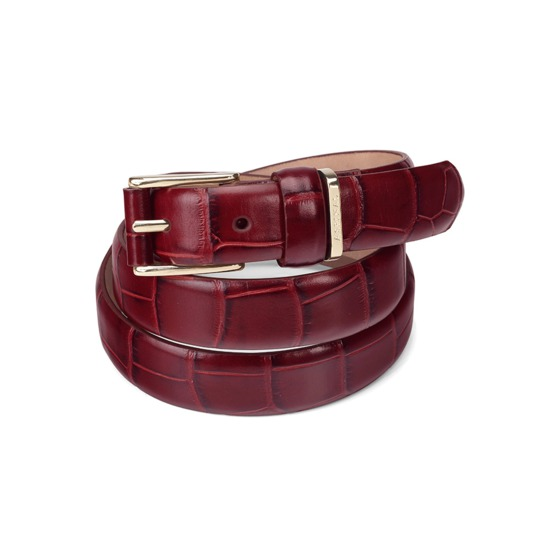 Ladies Westbourne Belt in Deep Shine Bordeaux Croc from Aspinal of London