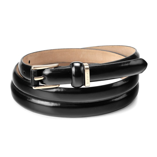 Ladies Skinny Westbourne Belt in Black Polish with Gold Buckle from Aspinal of London