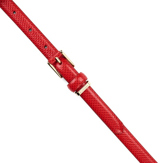 Ladies Skinny Westbourne Belt in Berry Lizard from Aspinal of London