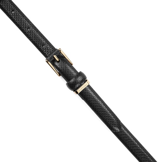 Ladies Skinny Westbourne Belt in Jet Black Lizard from Aspinal of London