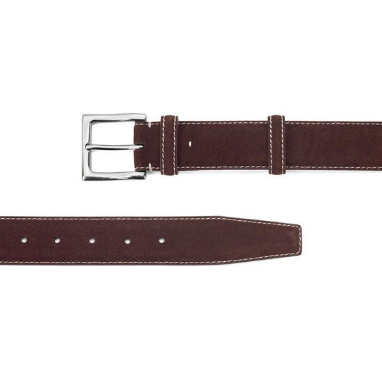 Men's Chelsea Suede Belt in Brown Suede from Aspinal of London