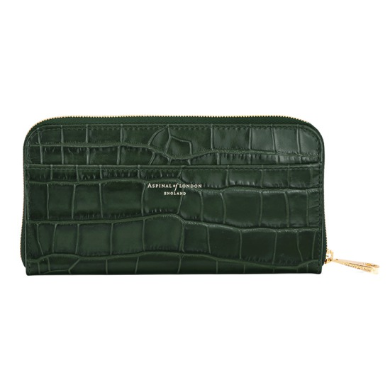 Continental Clutch Zip Wallet in Deep Shine Forest Green Croc from Aspinal of London