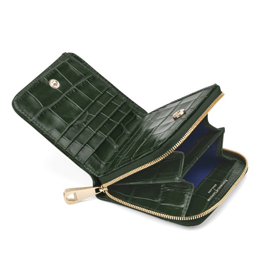 Mini Continental Zipped Coin Purse in Deep Shine Forest Green Croc from Aspinal of London