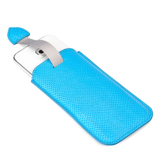 Samsung Galaxy S6 Leather Sleeve in Aquamarine Lizard from Aspinal of London