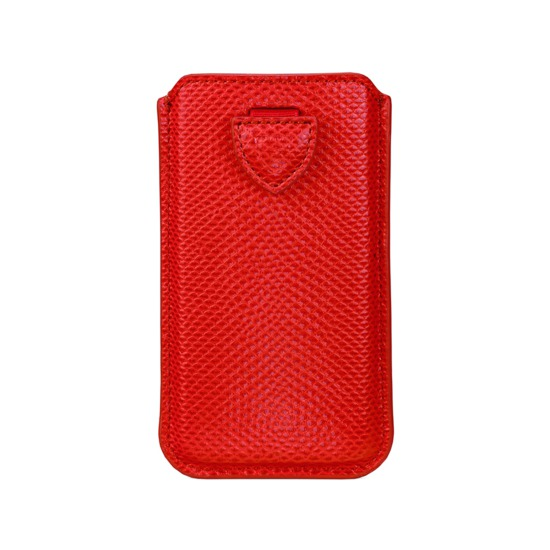 iPhone 6 Plus Leather Sleeve in Berry Lizard from Aspinal of London