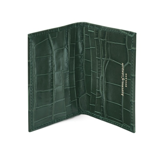 Double Fold Credit Card Case in Deep Shine Forest Green Croc from Aspinal of London