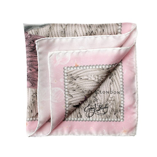 Pegasus Silk Twill Pocket Square in Rose from Aspinal of London