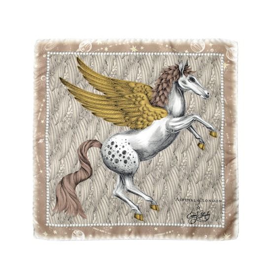 Pegasus Silk Twill Pocket Square in Gold from Aspinal of London