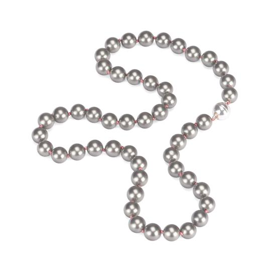 Grey Sea Shell Pearl Necklace (with Pink Silk Thread) from Aspinal of London