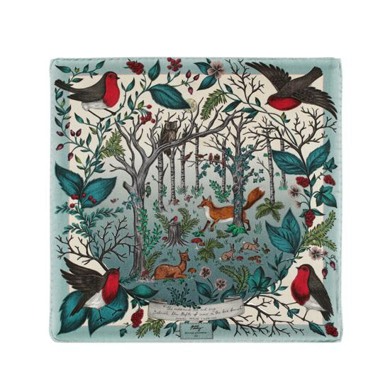Robin Silk Twill Handkerchief in Teal from Aspinal of London