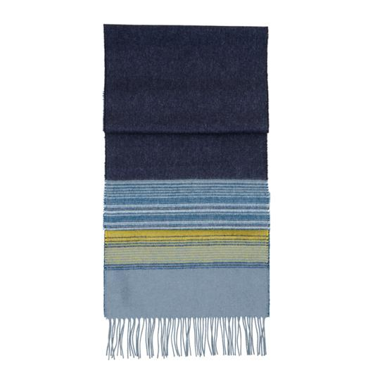 Ombre Stripe Cashmere Blend Scarf in Blue & Yellow Stripe from Aspinal of London