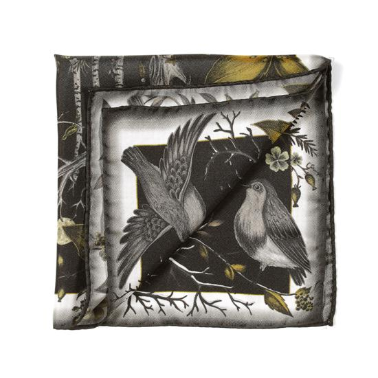 Robin Silk Twill Handkerchief in Black & Gold from Aspinal of London