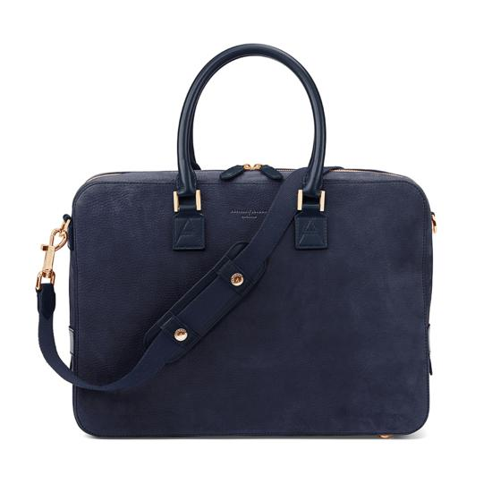 Small Mount Street Bag in Navy Nubuck from Aspinal of London