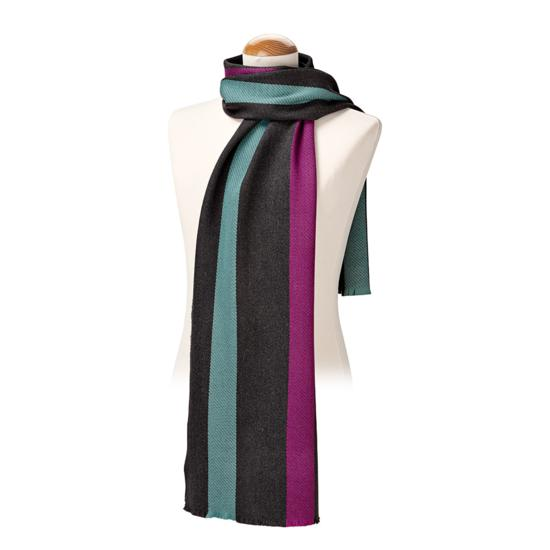 University Stripe Merino Wool Scarf in Charcoal, Steel Blue & Purple from Aspinal of London