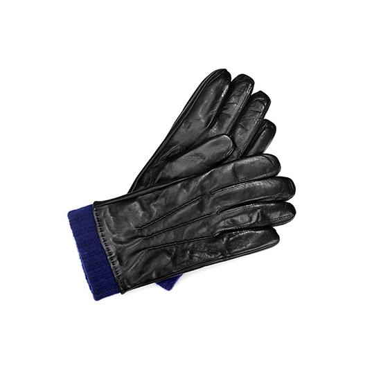 Mens Leather Gloves with Knitted Cuff in Black Nappa & Navy Knit from Aspinal of London