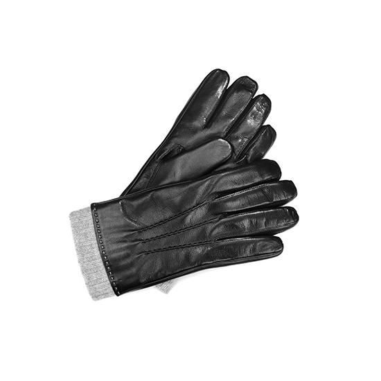 Mens Leather Gloves with Knitted Cuff in Black Nappa & Grey Knit from Aspinal of London
