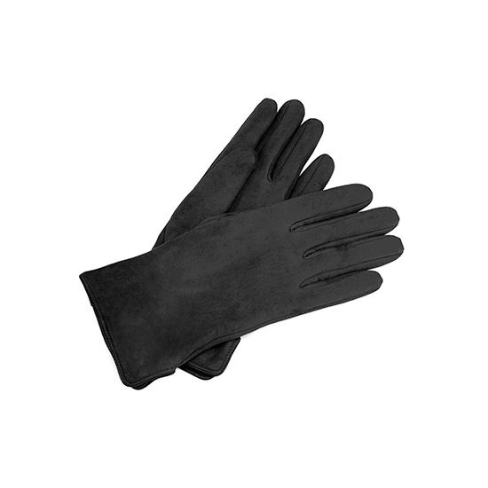 Ladies Sheepskin Lined Suede Gloves in Black Suede from Aspinal of London