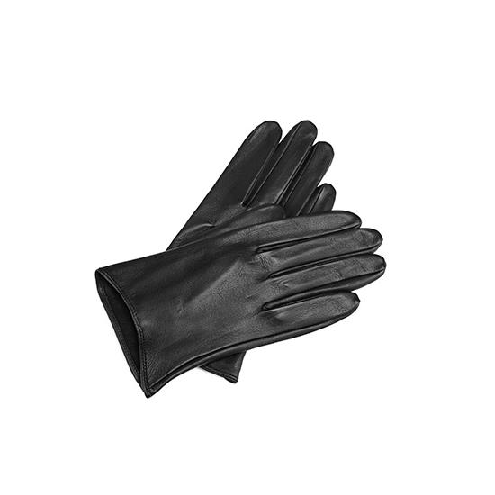 Ladies Short Unlined Leather Gloves in Black Nappa from Aspinal of London