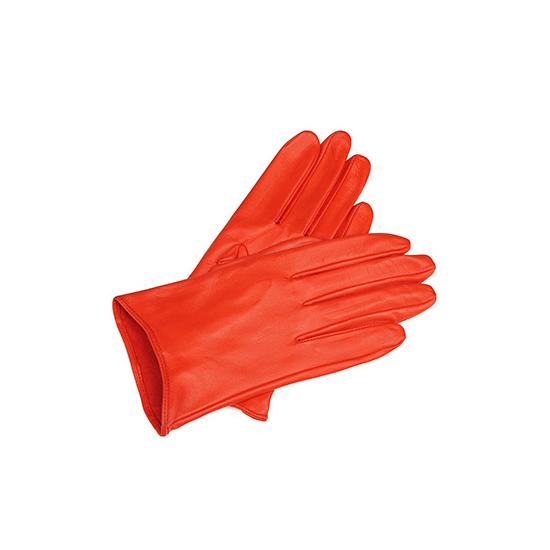 Ladies Short Unlined Leather Gloves in Flame Red Nappa from Aspinal of London